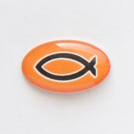 Значок на цанге - Черная рыбка на оранжевом фоне