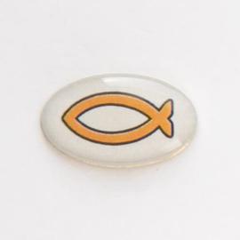 Значок на цанге - Оранжевая рыбка на сером фоне
