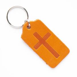 """Брелок """"Крест"""" из натуральной кожи (оранжевый)"""