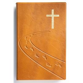 """Библия (14х21,3 см, искусств. кожа, янтарь, дизайн """"дорога ко Кресту"""", золотой обрез, 2 закладки, слова Иисуса выделены жирным, крупный шрифт)"""