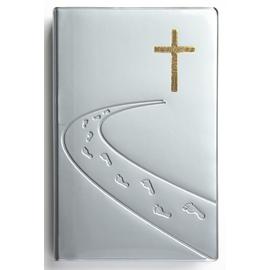 """Библия (14х21,3 см, гибкий переплёт, серебро, дизайн """"дорога ко Кресту"""", серебряный обрез, 2 закладки, слова Иисуса выделены жирным, крупный шрифт)"""