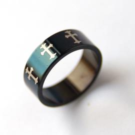 Кольцо - Крестики (металл с черным лаковым покрытием)
