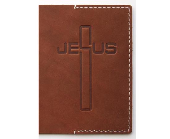 """Обложка на паспорт из натуральной кожи (кожа буйвола) """"Крест Jesus"""", цвета в ассортименте"""