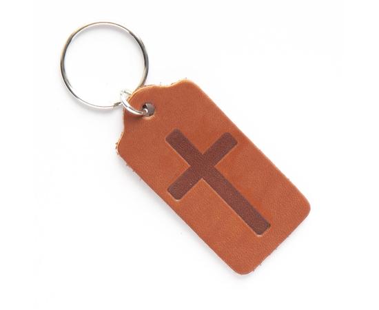 """Брелок """"Крест"""" из натуральной кожи (коричневый)"""